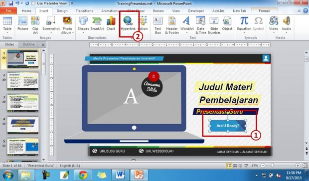 cara membuat hyperlink di powerpoint 2010